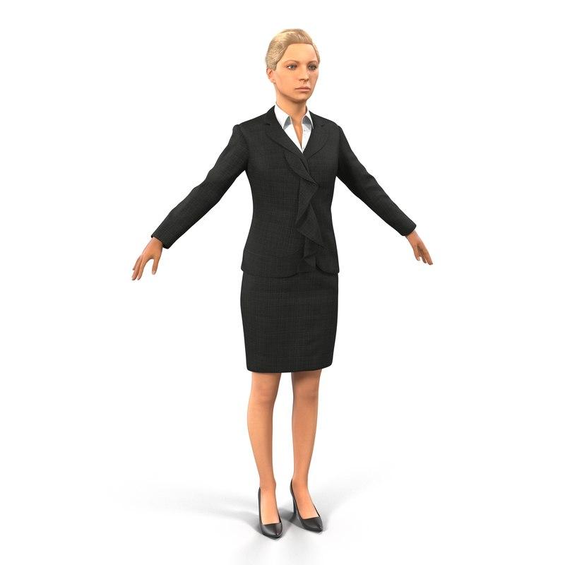 business woman caucasian 3d x