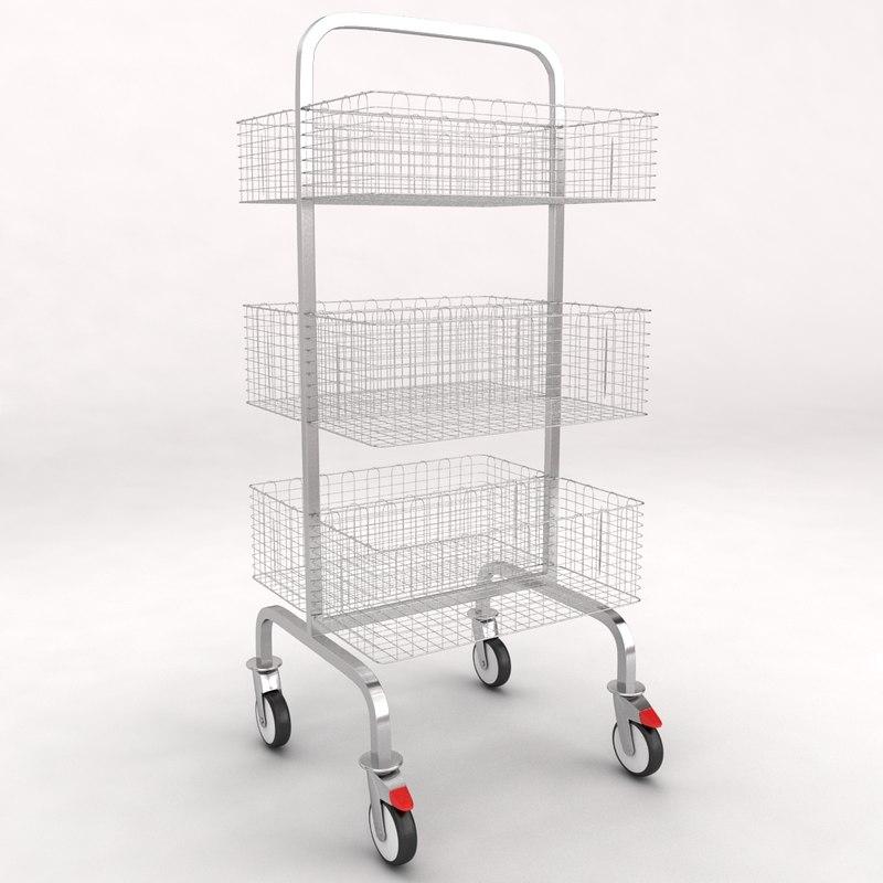 3d medical luggage equipment trolley model