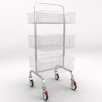 3d medical luggage equipment trolley model
