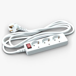 electrical extension cord europe 3d model