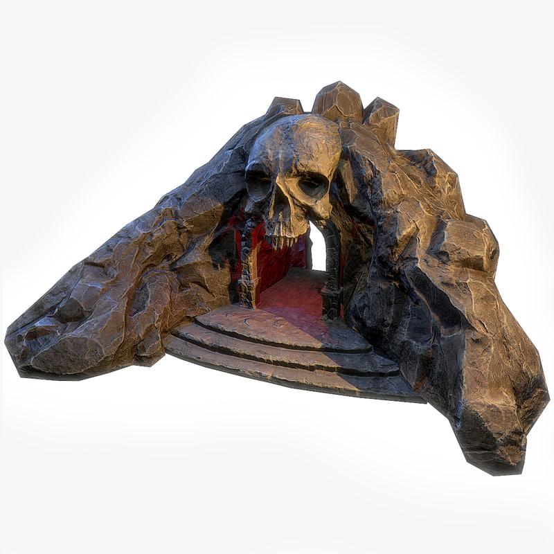 skull cave entrance 3d model