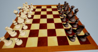 3d wooden chess set model