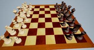 3d wooden chess set model