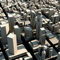 los angeles downtown skyscrapers 3d model