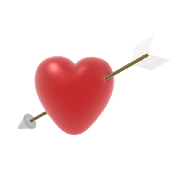 heart arrow 3d obj