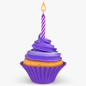 realistic cupcake candle purple 3d fbx