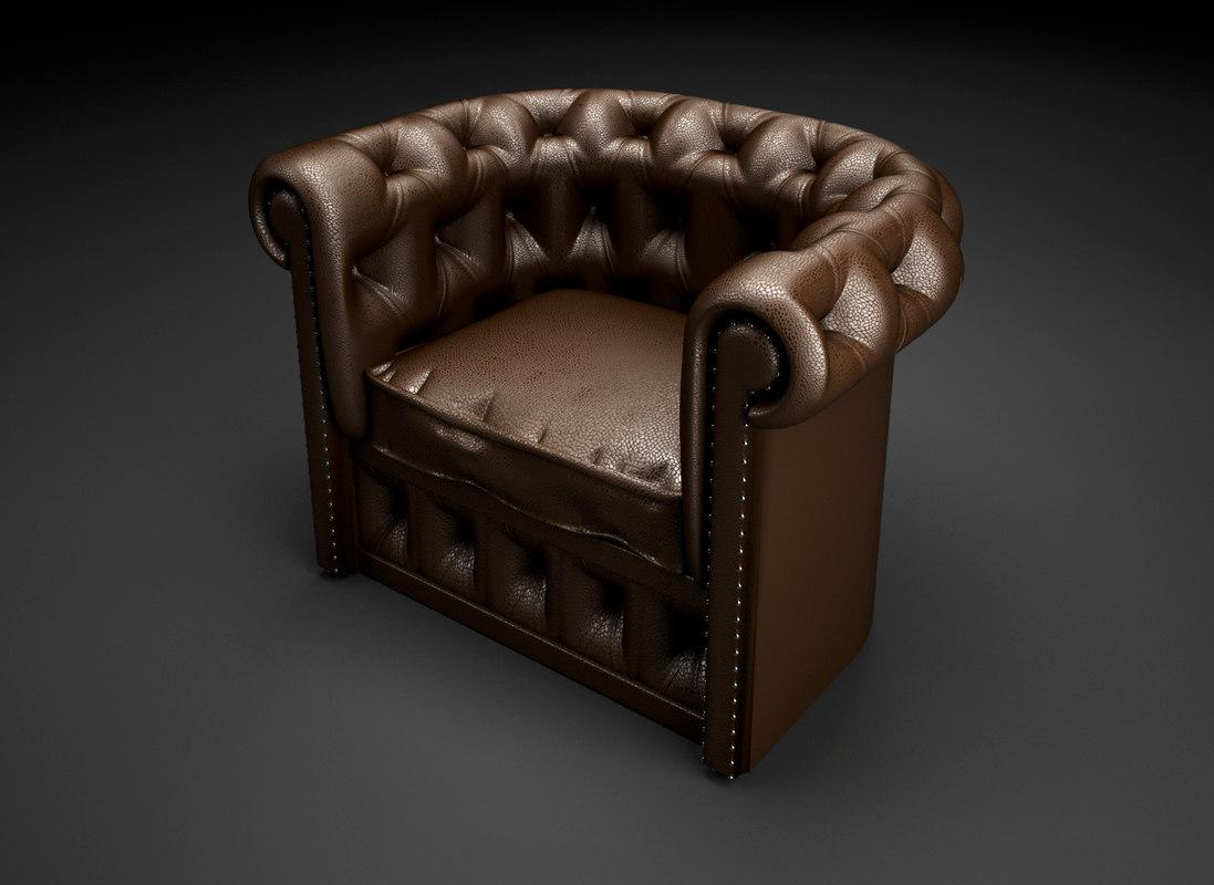 chesterfield armchair 3d max
