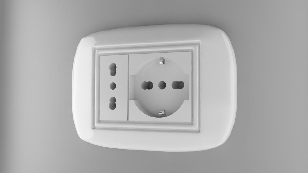 power socket type l 3d model