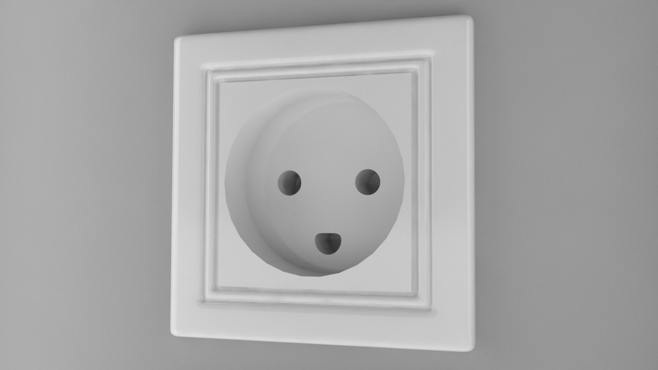 3d model power socket type k