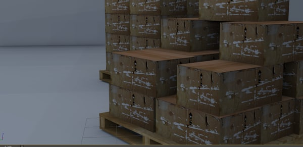 warehouse pallets boxes fbx