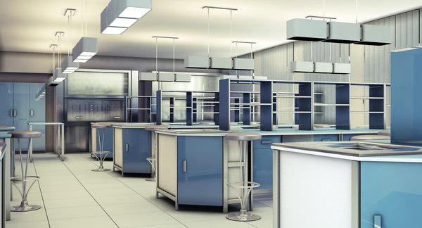 interior scientific laboratory scene 3d model