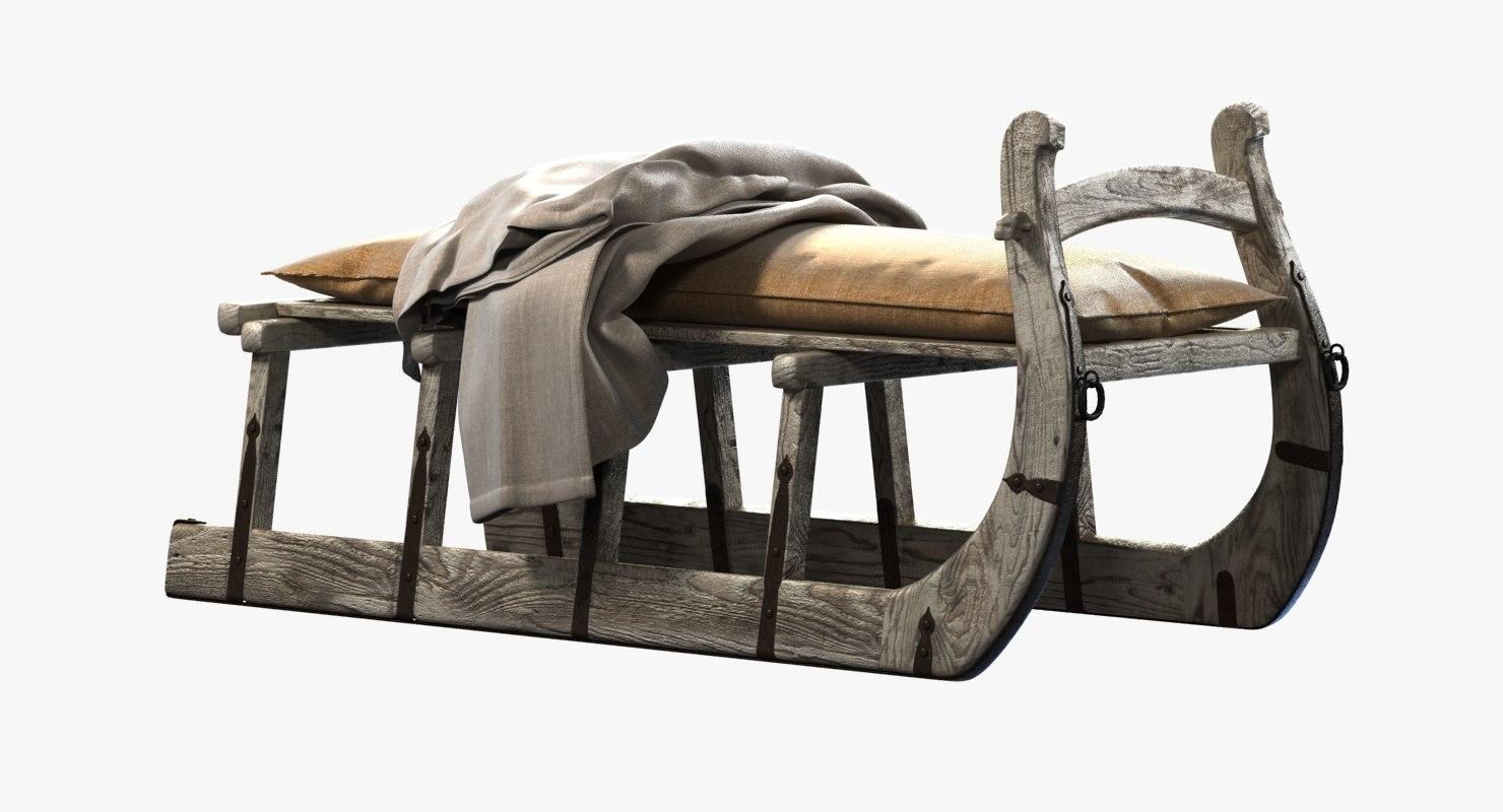 restoration hardware bench antique 3d max
