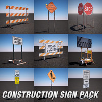 construction sign pack 3d max