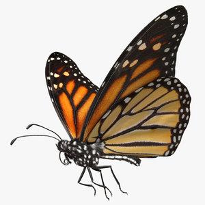 3d danaus plexippus monarch butterfly