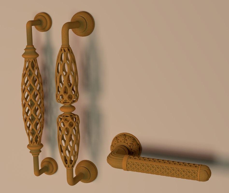 3 rusty door handles obj