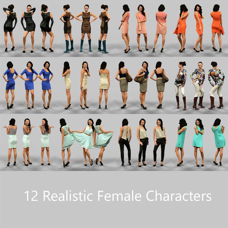 12 realistic characters 3d model