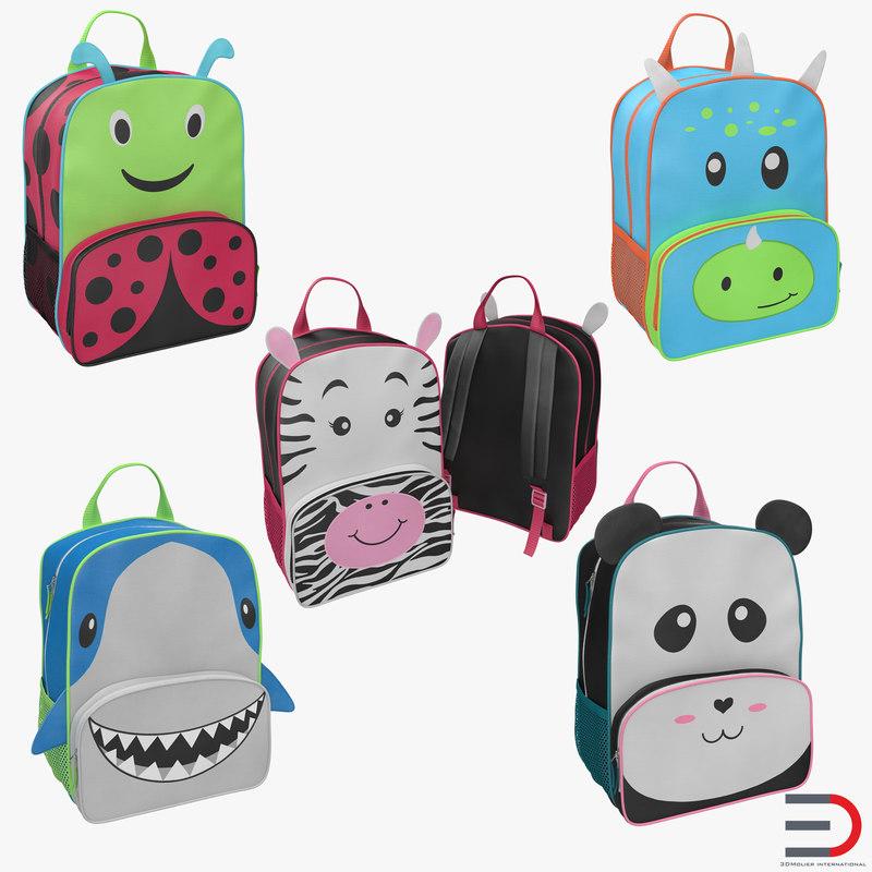3d model of kid backpacks modeled