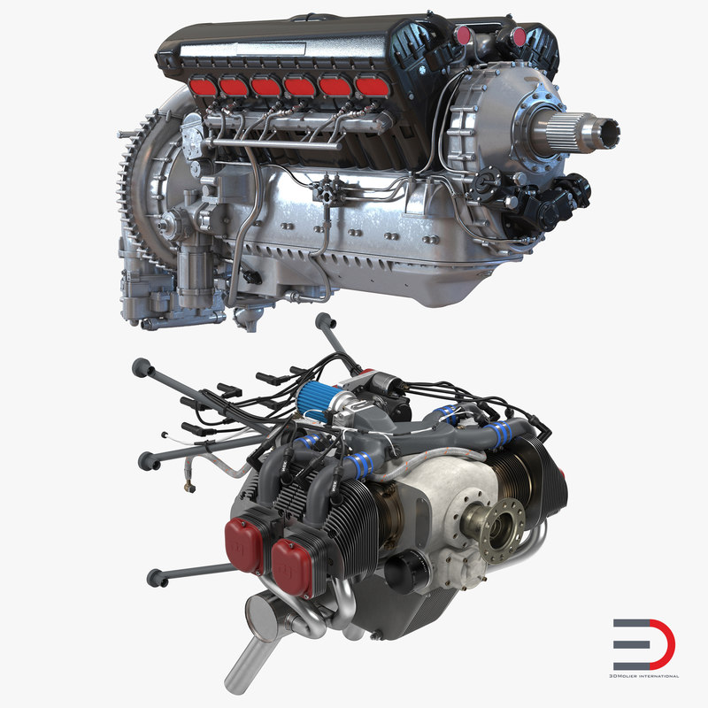 piston aircraft engines 3d 3ds