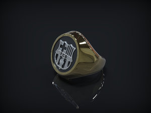 3d model fc barcelona logo ring
