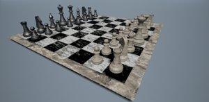 rock chess set 3d model
