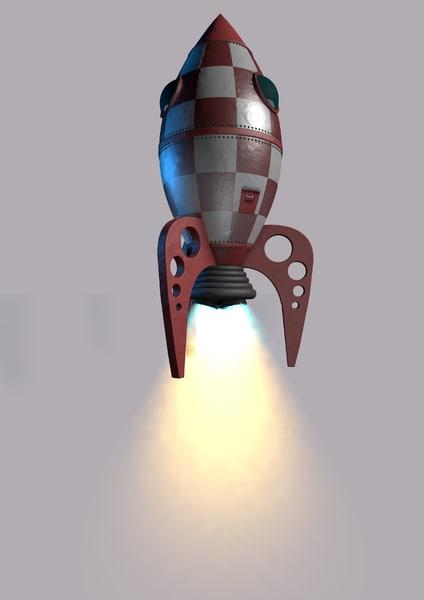 3d rocket ship model