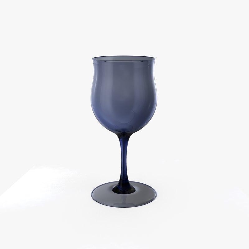 blue wine glass 3d model