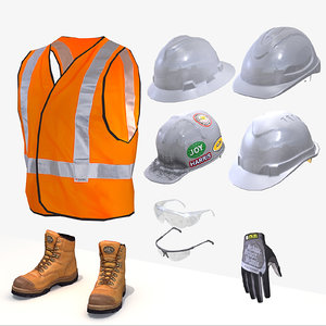 safety boots gloves vest 3d model