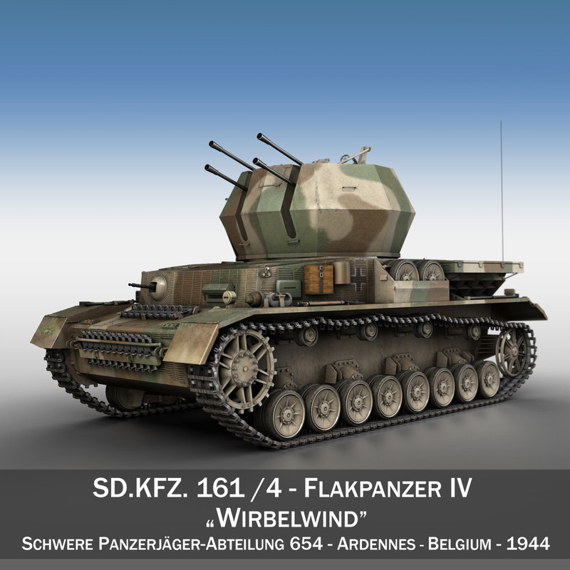 3d german flakpanzer - wirbelwind model