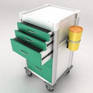 medical equipment trolley rack 3d model