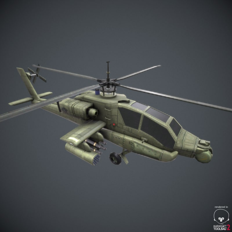 obj ready apache helicopter -