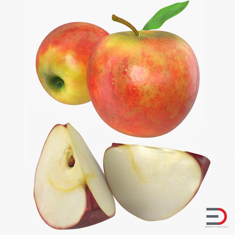 apple fruit 3d obj