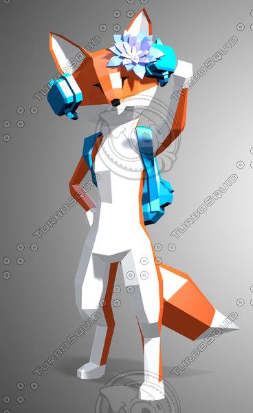 stylized fox 3d model