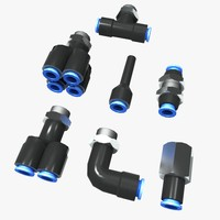 pneumatic pipe fittings 3d model