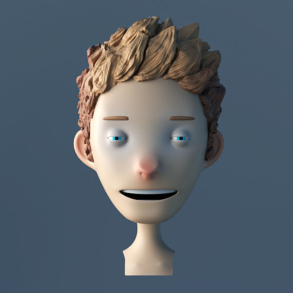 3d toon character bust model