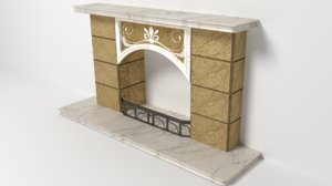 3d model of fireplace decoration