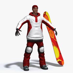 3d model snowboarder boarder
