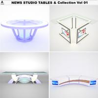 3d news studio tables vol model