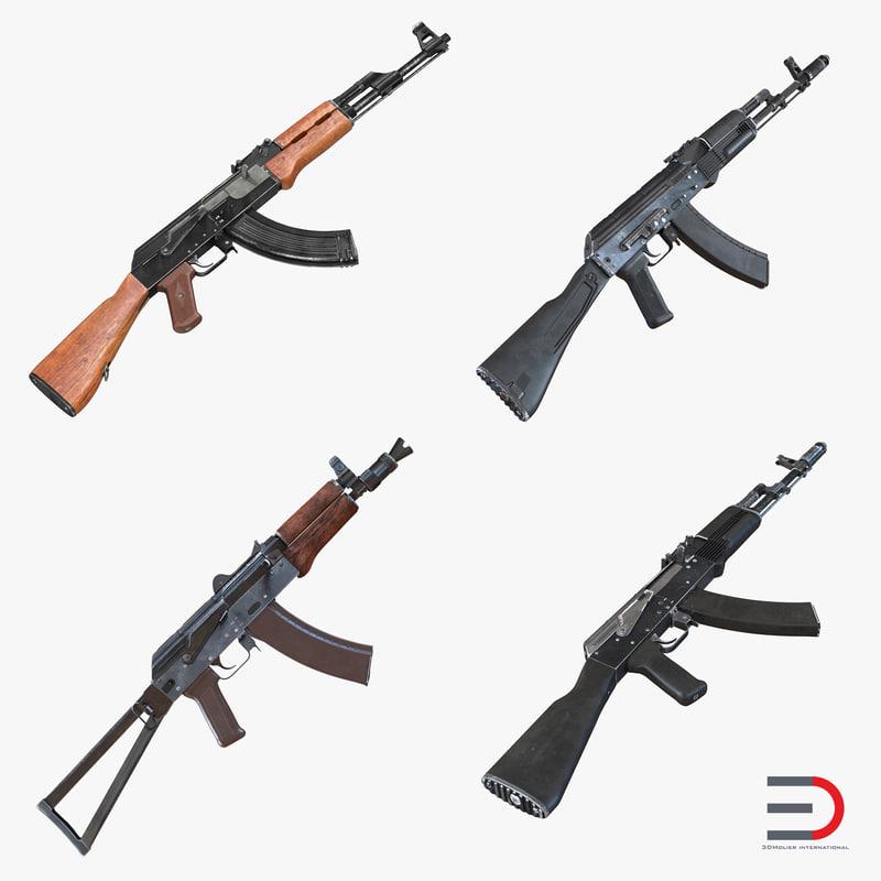 3d model assault rifle ak
