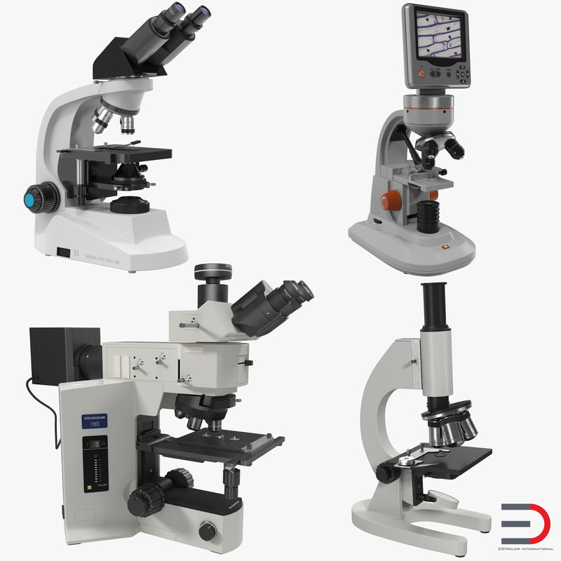 microscopes set medical 3d model