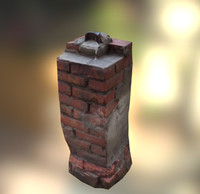 Photorealistic brick column