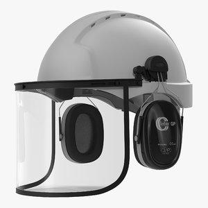 3d model safety helmet 2 white