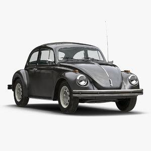 3d model volkswagen beetle 1966 black