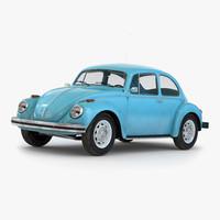 volkswagen beetle 1966 blue obj