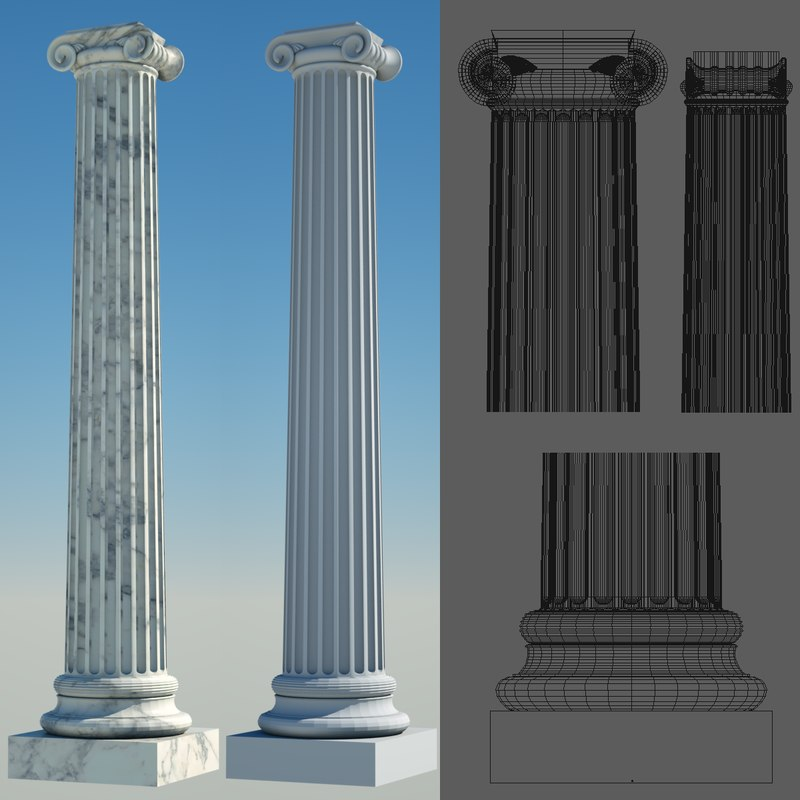 3d model greek column 3 ionic