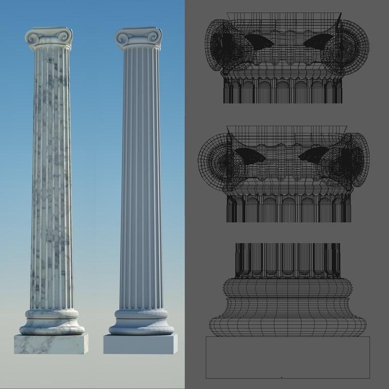 3d model greek column 4 ionic