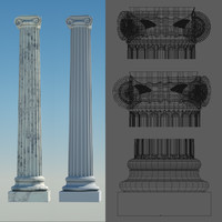 3d model greek column 4 ionic