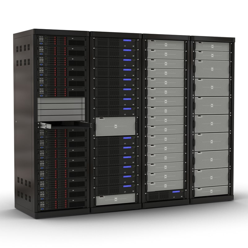 dell server racks set 3d model