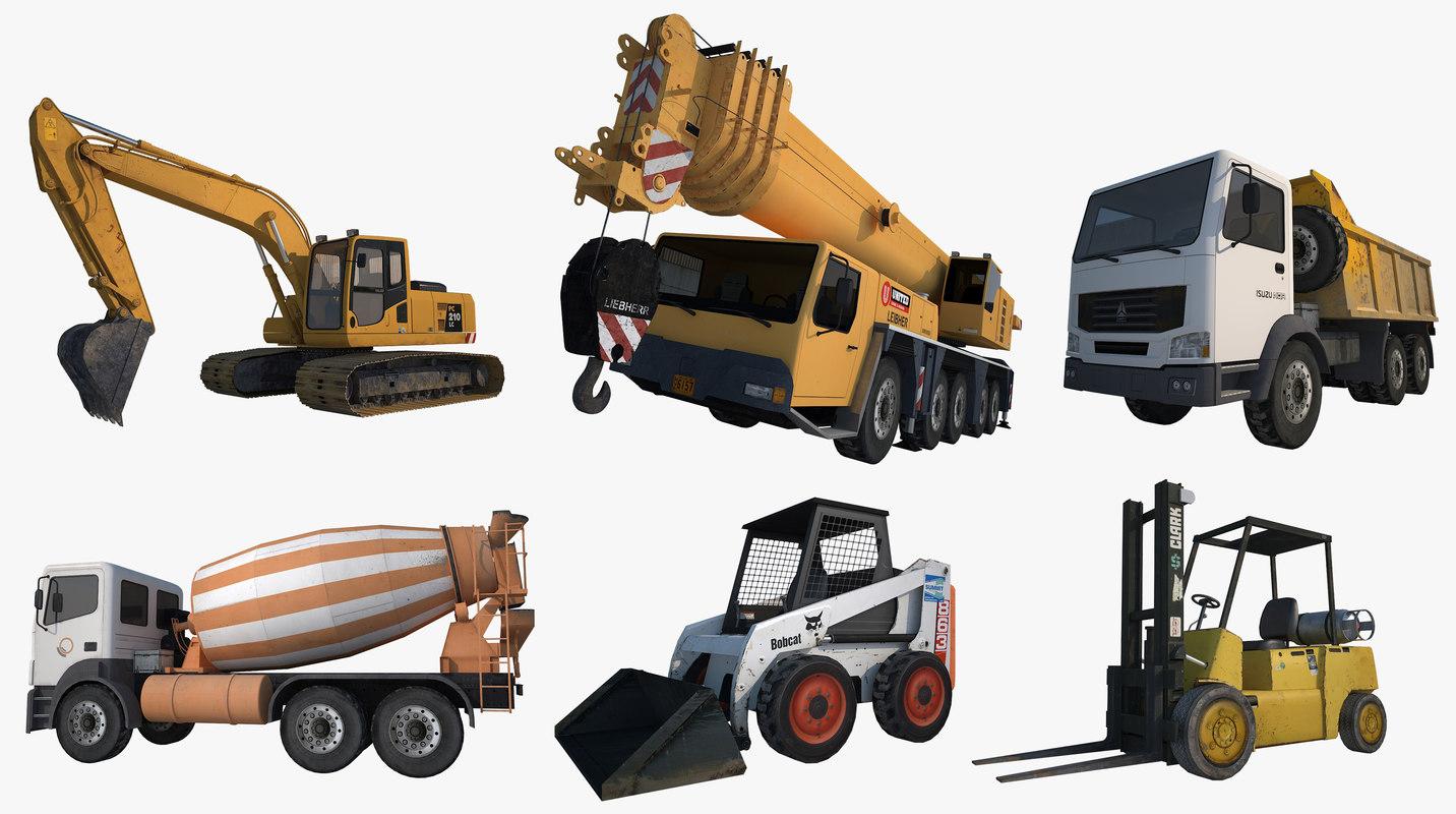 3d model digger crane truck