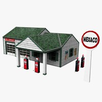 3d model low-poly old gas station