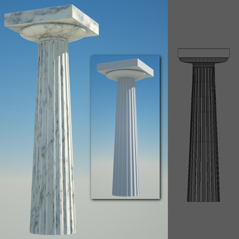 3d greek column 7 doric